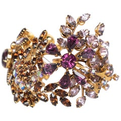Tom Binns Swarovski Crystal Floral  Garden Cuff  Bracelet Unsigned