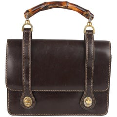 Gucci Vintage Brown Leather Handbag with Bamboo Handle