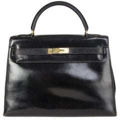 HERMES black Veau Box leather & Gold KELLY 32 Sellier Bag VINTAGE