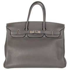 HERMES Graphite grey Clemence leather & Palladium BIRKIN 35 Bag