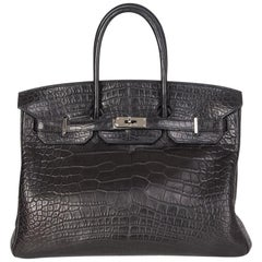 HERMES black Matt Alligator crocodile & Palladium BIRKIN 35 Bag
