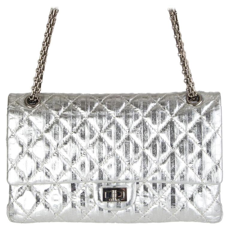 bb7cb0db3bf5 Chanel silver quilted leather 2.25 REISSUE LIMITED EDITION Flap Shoulder Bag  For Sale