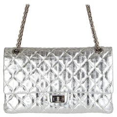 Chanel silver quilted leather 2.25 REISSUE LIMITED EDITION Flap Shoulder Bag