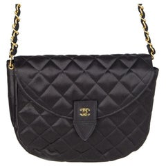 Chanel black quilted satin VINTAGE SMALL FLAP Shoulder Bag