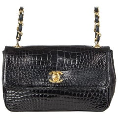Chanel black Crocodile MINI FLAP CC Shoulder Cross Body Bag