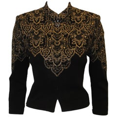 St. John Black and Gold Tone Embroidered Details W/ Gold Tone Crystals