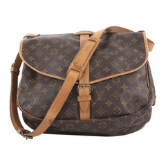 Louis Vuitton Saumur Handbag Monogram Canvas MM