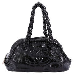 Chanel Resin Luxe Ligne Bowler Bag Patent Medium
