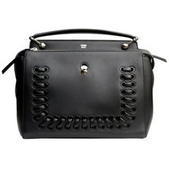 FENDI Black Smooth Calfskin Leather Dotcom Satchel Bag