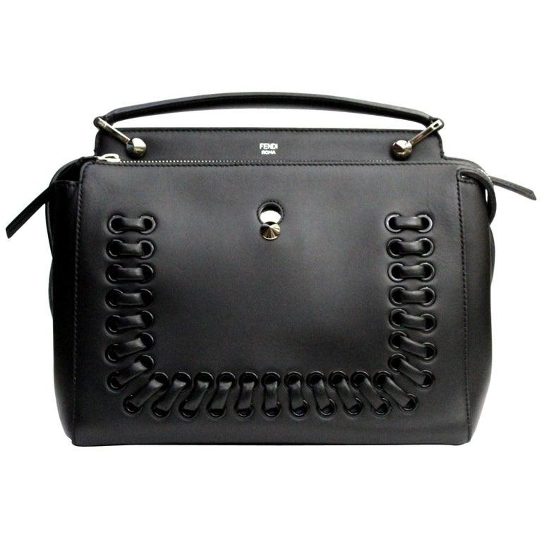 FENDI Black Smooth Calfskin Leather Dotcom Satchel Bag