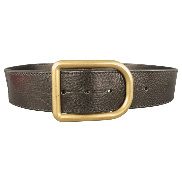 VALENTINO GARAVANI Size 34 Black Leather Belt For Sale