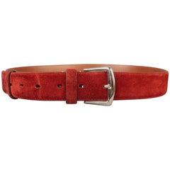LORO PIANA Size 42 Maroon Suede Belt