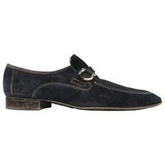SALVATORE FERRAGAMO Size 12 Navy Solid Slip On Loafers
