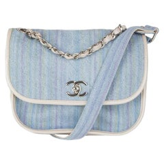Chanel blue & multicoloured striped RUNWAY Denim Small Saddle  Shoulder Bag
