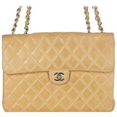 Chanel beige quilted leather VINTAGE MAXI CLASSIC FLAP Shoulder Bag