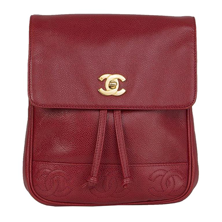 7f3cf0155136 Chanel red Caviar leather VINTAGE Backpack Bag For Sale at 1stdibs