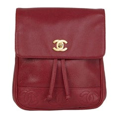 Chanel red Caviar leather VINTAGE Backpack Bag