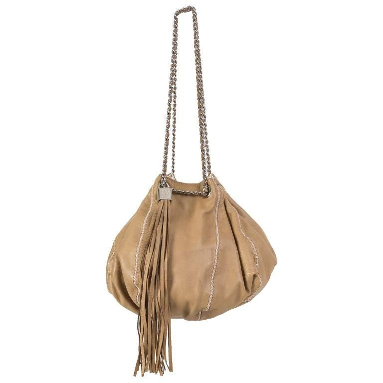 f3b28f672b63 Chanel beige leather & white satin REVERSIBLE TASSEL SMALL BUCKET Bag For  Sale