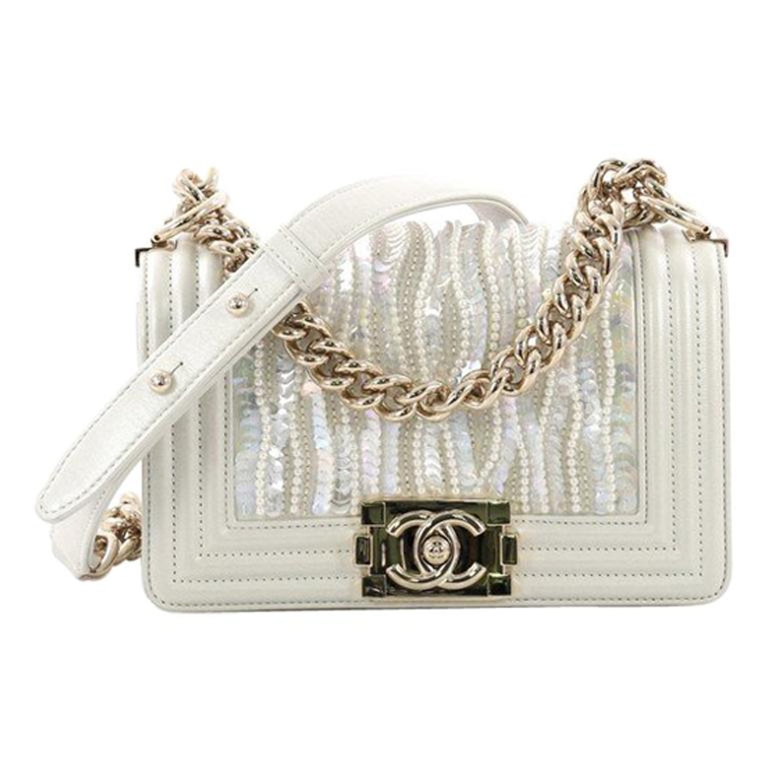 273a13cd14ac1d Chanel Boy Flap Bag Sequin and Pearl Embellished Leather Small at 1stdibs
