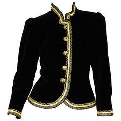 Yves Saint Laurent Rive Gauche Black Velvet Metallic Gold Trim Blazer French 36