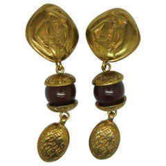 Vintage Chanel Logo red poured Glass gold-tone drop Earrings