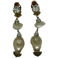 Vintage Chanel red poured Glass irregular faux pearl drop Earrings