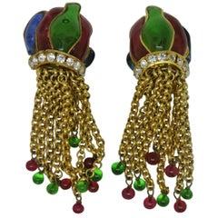 Vintage Chanel multi-colour poured Glass flame shape tassel drop Earrings