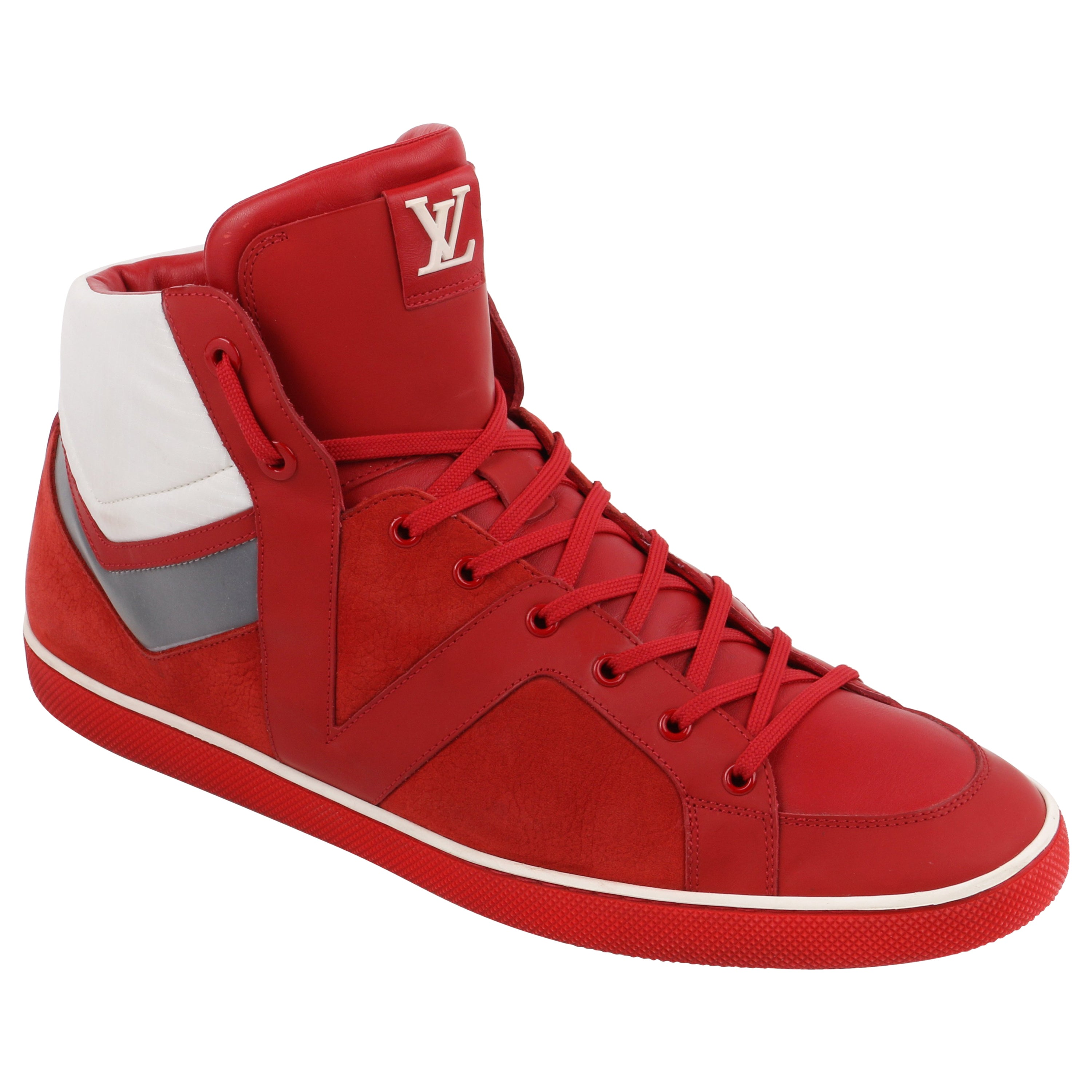 """LOUIS VUITTON A/W 2012 """"Heroes"""" Red Suede & Leather High Top Sneaker Boot"""