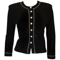 Classic St. John Black Knit Evening Jacket W/ Crystal Trim and Crystal Buttons