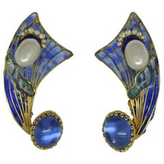 French Gripoix early blue Poured Glass couture Earrings