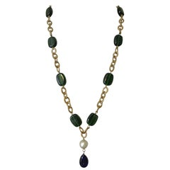 Chanel Gripoix Poured Glass blue green beaded drop Necklace