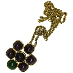 Chanel Gripoix Poured Glass purple green pendant Necklace