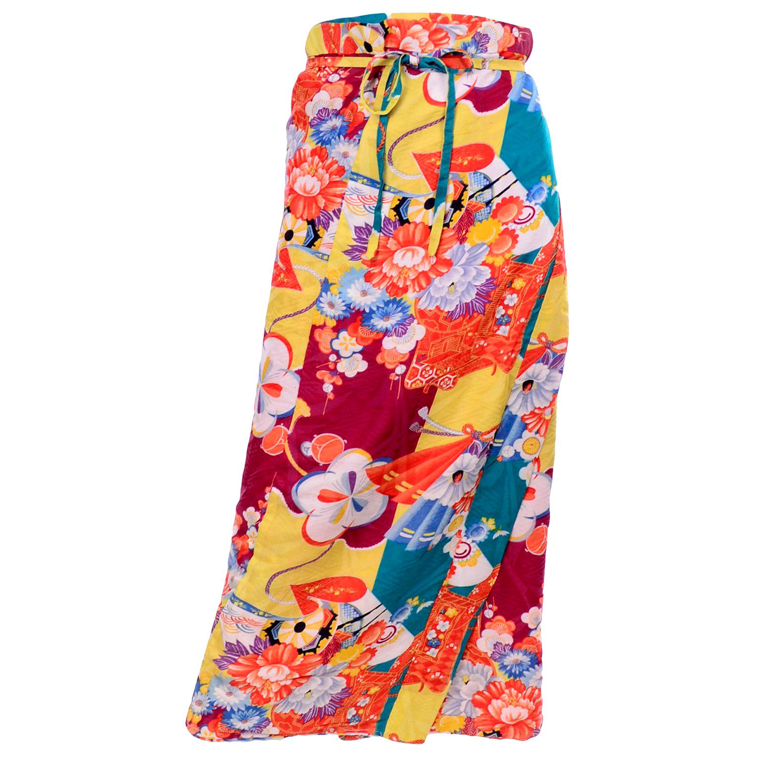 1930s Silk Japanese Susoyoke Skirt in Orange Red Yellow & Blue Damask Print