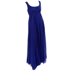 1960s Vintage Malcolm Starr Blue Silk Chiffon Empire Waist Dress