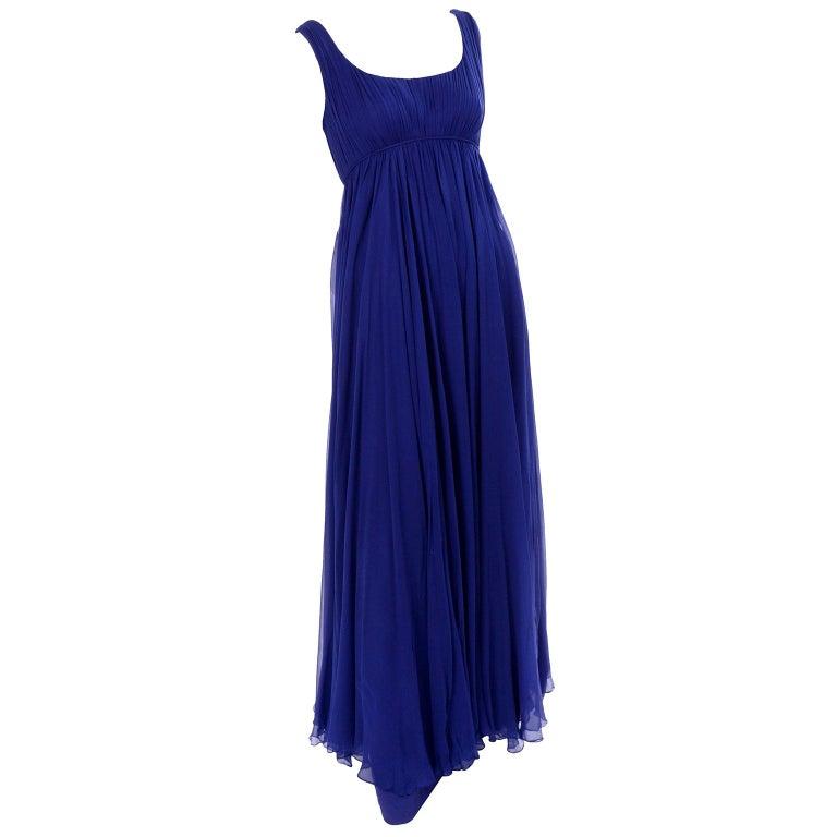 1960s Vintage Malcolm Starr Blue Silk Chiffon Empire Waist Dress For Sale