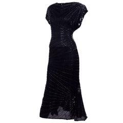 Art Deco Style 1980s Heavily Beaded Vintage Black Silk Evening Dress