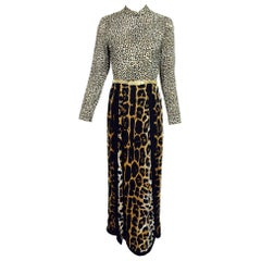 Martha Palm Beach Leopard Print Maxi dress 1970s