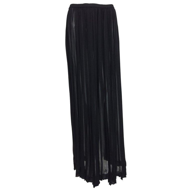 Yves Saint Laurent Black Silk Chiffon Knife Pleated Maxi Skirt Vintage 1970s For Sale