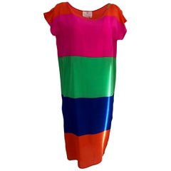 Bold neon color block silk crepe statement Tee Dress Flora Kung NWT