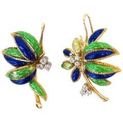 Vintage 18K Gold Diamond Enamel Leaf Earrings