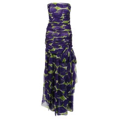 1983 Yves Saint Laurent Documented Purple Green Print Ruched Silk Strapless Gown