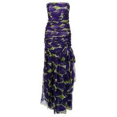 Vintage 1983 Yves Saint Laurent Documented Purple Print Silk Strapless Gown