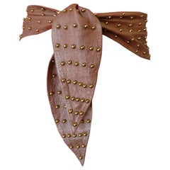 1980s Dusty Rose Leather & Gold Studded Tie Belt