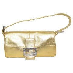 Fendi Gold Baguette Shoulder Bag with Rhinestone Buckle