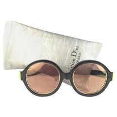 3a8b415295 New Vintage Christian Dior 2446 90 Patent Black Round Optyl Sunglasses