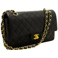 CHANEL 2.55 Double Chain Flap Shoulder Bag Black Quilted Lambskin