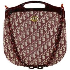 Christian Dior Vintage Red Jacquard Monogram Canvas Frame Bag
