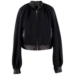 Rosetta Getty Black Faux Leather-Trimmed Jacket US 4