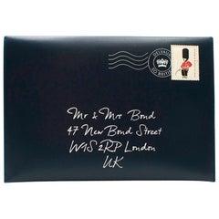 Delvaux Navy Mr & Mrs Bond Envelope Clutch
