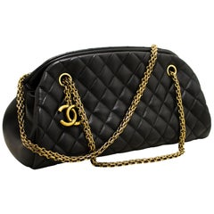 CHANEL Bowling Chain Shoulder Bag Black Quilted Lambskin Gold
